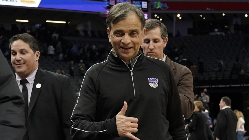 Mandatory Credit: Photo by John G Mabanglo/EPA-EFE/Shutterstock (9324856t)Vivek RanadiveUtah Jazz at Sacramento Kings, USA - 17 Jan 2018Sacramento Kings owner Vivek Ranadive gestures for a photo after the Kings NBA game against the Utah Jazz at Golden 1 Center in Sacramento, California, USA, 17 January 2018.