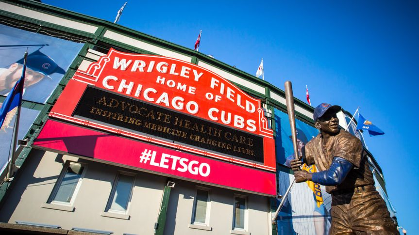 Chicago, USA - August 12, 2015: The famous signage on a warm summer's night at Wrigley Field.