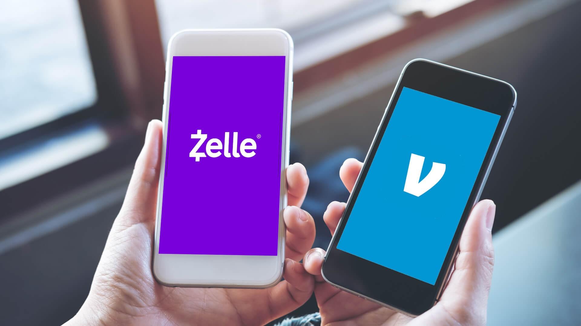 Zelle vs. Venmo apps on smartphone display screens