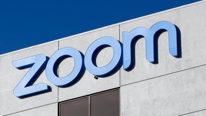 San Jose, CA, USA - Feb 17, 2020: The Zoom logo seen at Zoom Video Communications Headquarters campus in San Jose.