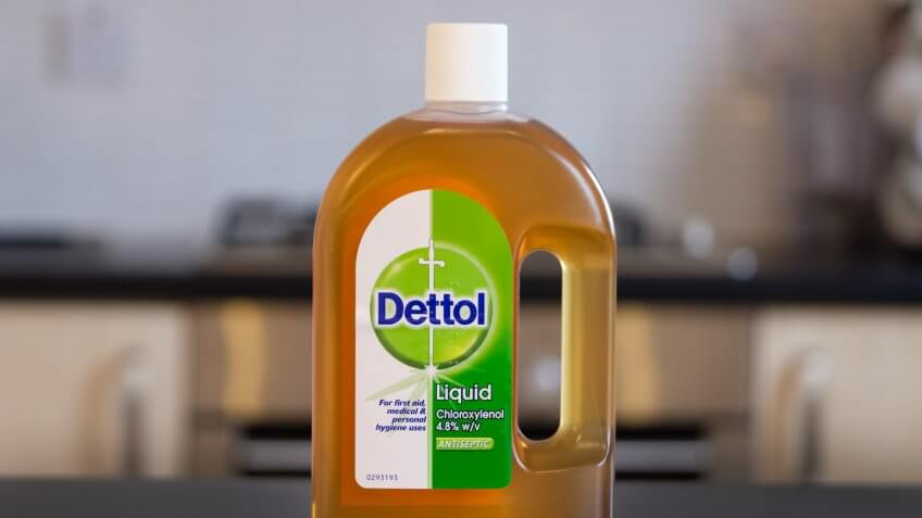 Largs, Scotland, UK - February 14, 2018: A bottle of Dettol antiseptic liquid often intended for domestic use.