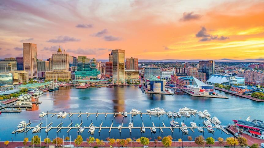 Baltimore Maryland MD Inner Harbor Skyline Aerial.