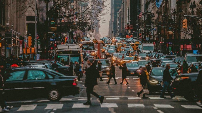 New York traffic, USA.