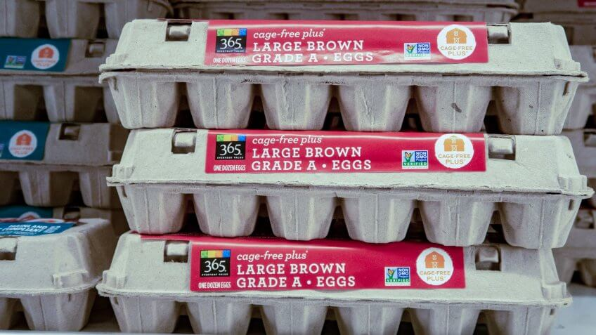 Laguna Niguel, CA / USA - 06/30/2019:Packages of Organic Eggs on Display at a Whole Foods Grocery Store.