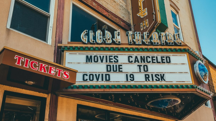 GREENVILLE, ILLINOIS/USA - APRIL 01, 2020: Marquee on small town movie theater in the Midwest U.