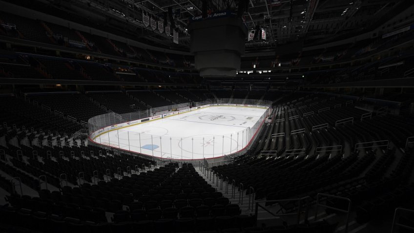 Mandatory Credit: Photo by Nick Wass/AP/Shutterstock (10586936a)The Capital One Arena, home of the Washington Capitals NHL hockey club, sits empty in Washington.
