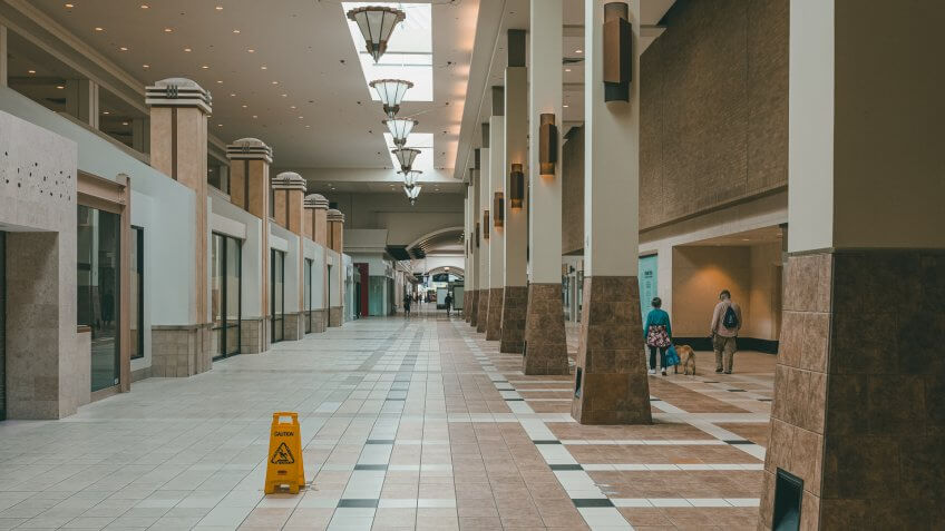 seattle, wa/ USA August 19 2019: North gate Mall in the summer with few people inside becomes the latest in dead malls in america.