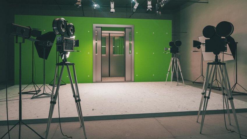 Doors decoration for movie filming with vintage cameras 3D Render.