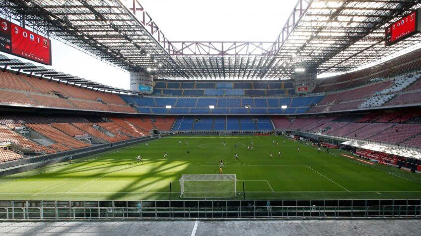 Mandatory Credit: Photo by Antonio Calanni/AP/Shutterstock (10577069o)A view of the empty stadium during the Serie A soccer match between AC Milan and Genoa at the San Siro stadium, in Milan, Italy, .