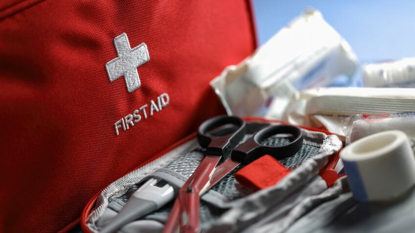 First aid articles closeup.