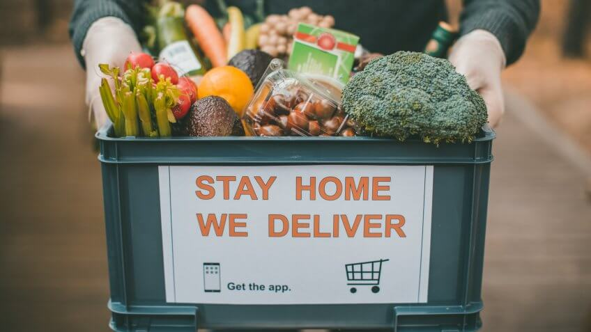 Delivering food ordered online while in home isolation during quarantine.
