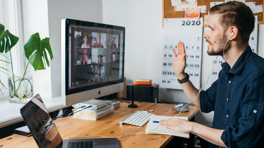 guy meeting over zoom video
