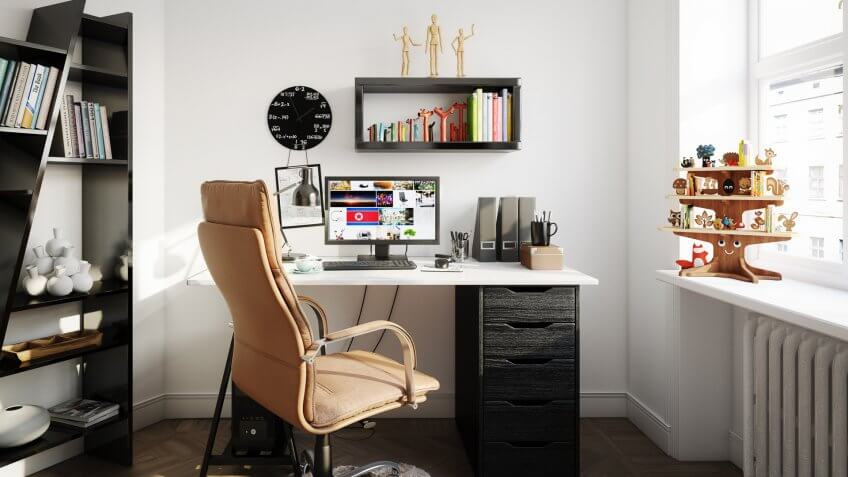 Digitally generated Scandinavian home office interior design.