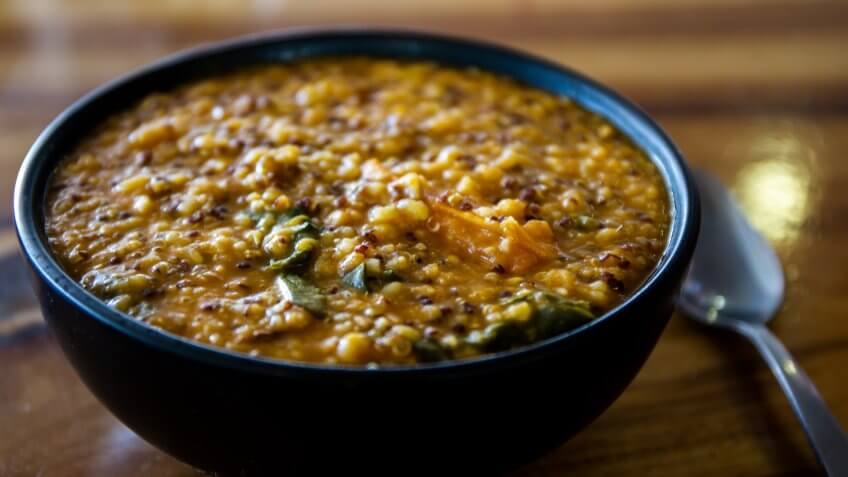 Gluten Free Soup with quinoa lentils and some herbs