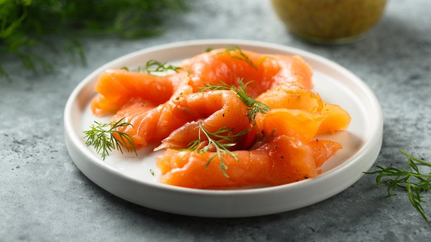Smoked salmon with dill and mustard sauce.