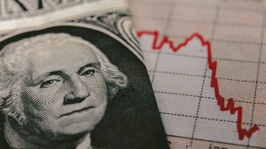 Stock Market Graph next to a 1 dollar bill (showing former president Washington).