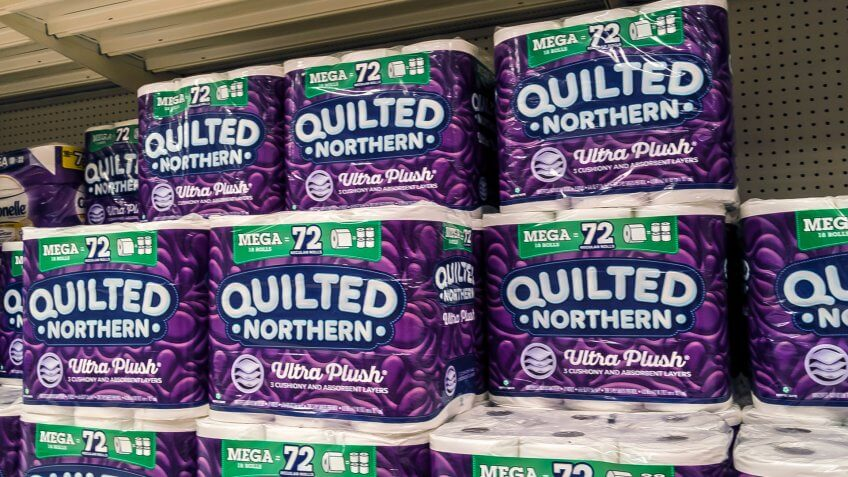 Woodinville, WA / USA - November 2nd, 2019: Quilted Northern and other toilet paper brands in household goods aisle at Target.