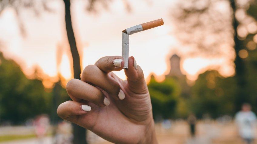 woman quitting smoking cigarettes