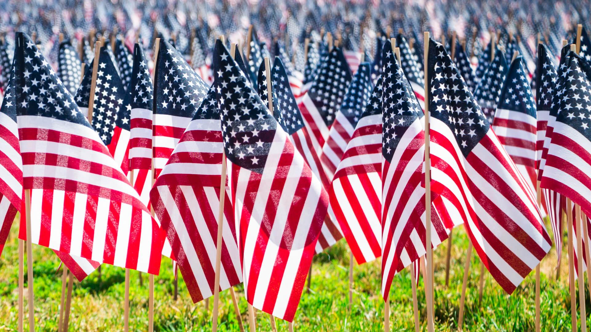 A Detail Shot Of Many Mini American Flags On The Lawn Of Boston Common Park On Memorial Day.