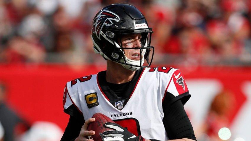 Mandatory Credit: Photo by Jeff Haynes/AP/Shutterstock (10516684ek)Atlanta Falcons quarterback Matt Ryan (2) looks to throw a pass against the Tampa Bay Buccaneers during an NFL football game, in Tampa, Fla.