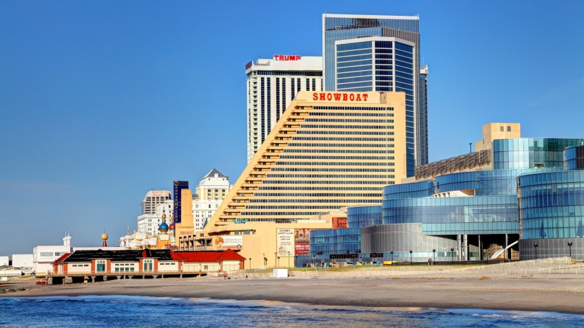 Atlantic City, New Jersey, USA - May 7, 2014: The Showboat Casino along the historic boardwalk closed On August 31, 2014 after 27 years in Atlantic City.
