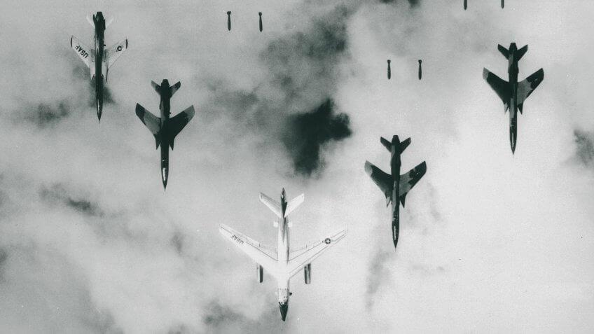 B-66 Destroyers Bombing over North Vietnam War 1966