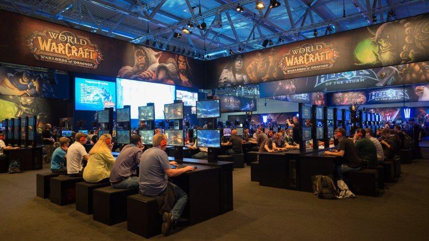 Cologne, Germany, August 13, 2014: Blizzard pavilion on gamescom.