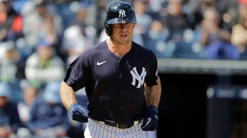 Mandatory Credit: Photo by Frank Franklin II/AP/Shutterstock (10569204x)New York Yankees' Brett Gardner during the third inning of a spring training baseball game against the Tampa Bay Rays, in Tampa, FlaRays Yankees Baseball, Tampa, USA - 27 Feb 2020.