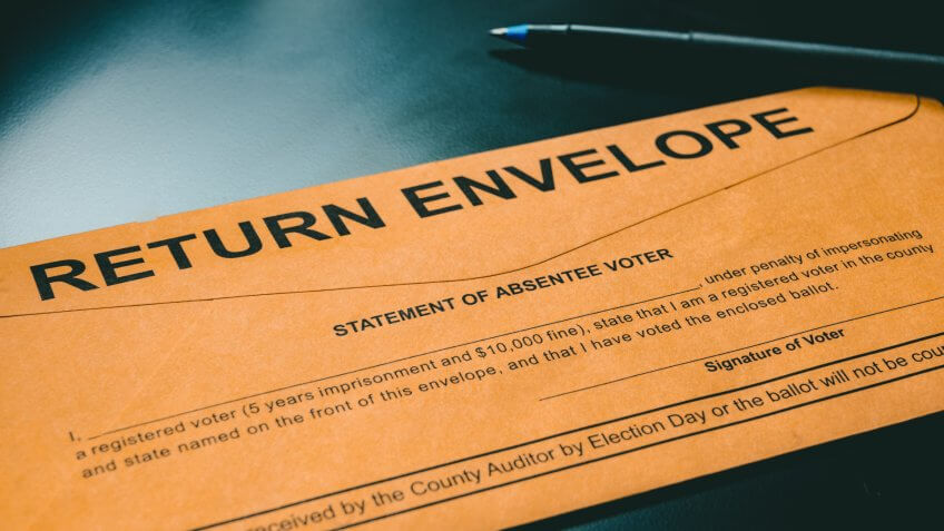 Absentee voting material typically sent to voters for elections.