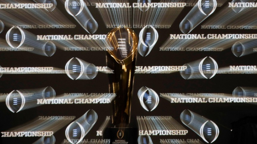 The championship trophy is seen before a news conference for the NCAA college football playoff championship game between Alabama and Clemson, in Santa Clara, CalifCFP National Championship Clemson Alabama Football, Santa Clara, USA - 06 Jan 2019.