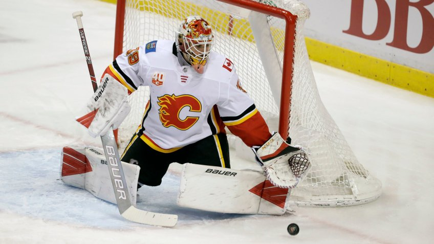 Mandatory Credit: Photo by Wilfredo Lee/AP/Shutterstock (10571743p)Calgary Flames goaltender Cam Talbot makes a save during the second period of an NHL hockey game against the Florida Panthers, in Sunrise, FlaFlames Panthers Hockey, Sunrise, USA - 01 Mar 2020.