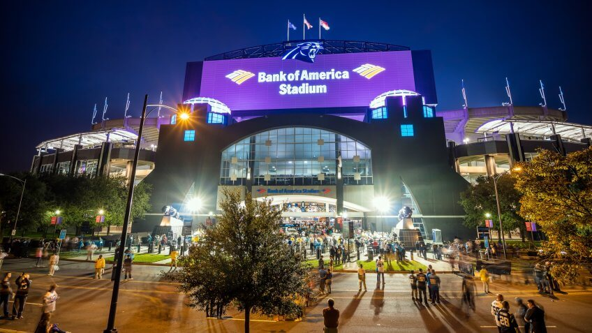 Charlotte, NC - OCT 25 : Panthers NFL Stadium in downtown Charlotte on October 25,2015.