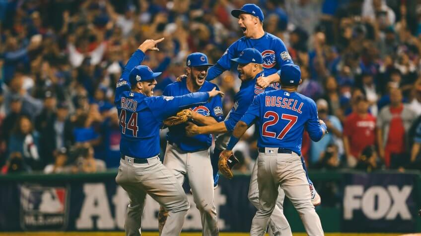 CLEVELAND, OH - NOVEMBER 2: Members of the Chicago Cubs celebrate defeating the Cleveland Indians in Game 7 of the 2016 World Series at Progressive Field on Wednesday, November 2, 2016 in Cleveland, Ohio.