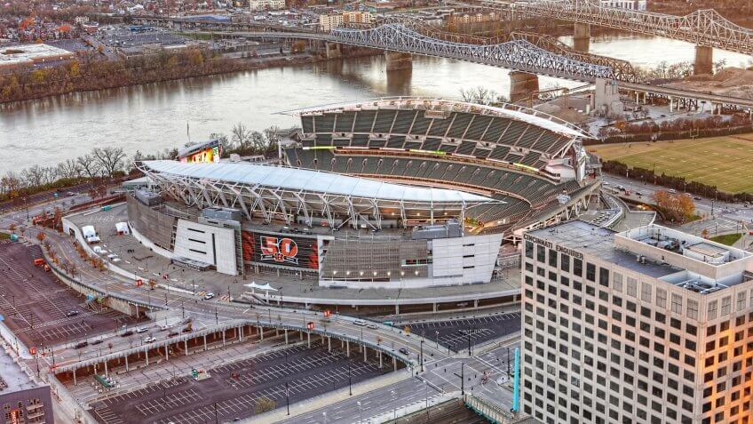 CINCINNATI, OHIO/UNITED STATES- SEPTEMBER 10, 2018: An aerial of Paul Brown Stadium in Cincinnati, home to the Cincinnati Bengels.
