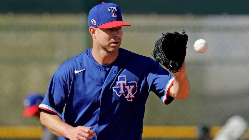 Mandatory Credit: Photo by Charlie Riedel/AP/Shutterstock (10557145t)Texas Rangers pitcher Corey Kluber participates in a drill during spring training baseball practice, in Surprise, ArizRangers Spring Baseball, Surprise, USA - 14 Feb 2020.