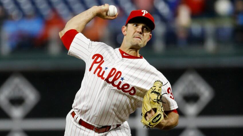 Mandatory Credit: Photo by Matt Slocum/AP/Shutterstock (10188885x)Philadelphia Phillies' David Robertson in action during a baseball game against the Minnesota Twins, in PhiladelphiaTwins Phillies Baseball, Philadelphia, USA - 05 Apr 2019.