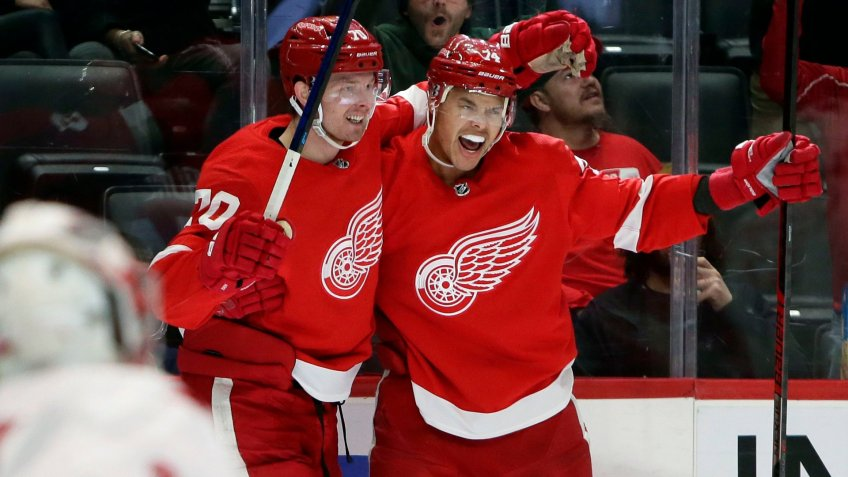 Mandatory Credit: Photo by Duane Burleson/AP/Shutterstock (10579336h)Detroit Red Wings center Christoffer Ehn (70) celebrates his second-period goal against the Carolina Hurricanes with defenseman Madison Bowey, right, during an NHL hockey game, in DetroitHurricanes Red Wings Hockey, Detroit, USA - 10 Mar 2020.