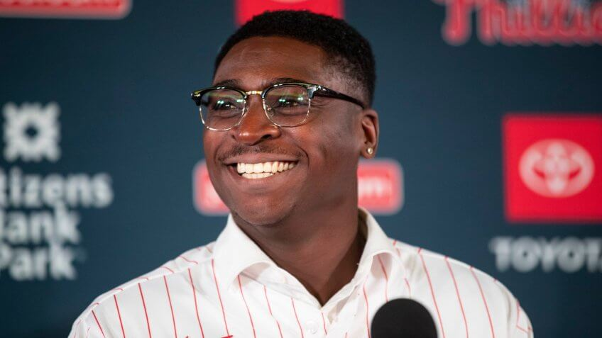 Mandatory Credit: Photo by Matt Rourke/AP/Shutterstock (10506836ac)New Philadelphia Phillies baseball player Didi Gregorius speaks during a news conference in PhiladelphiaPhillies Baseball, Philadelphia, USA - 16 Dec 2019.