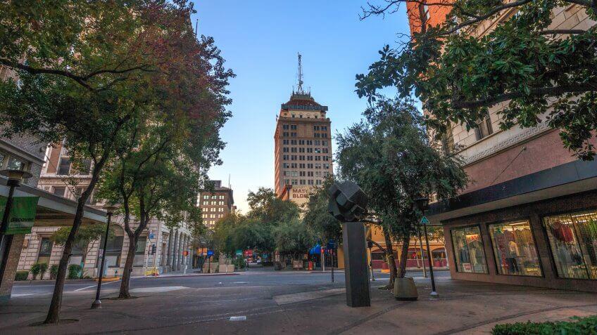 Fresno, California, USA - November 14, 2015: Fresno downtown in Central California.