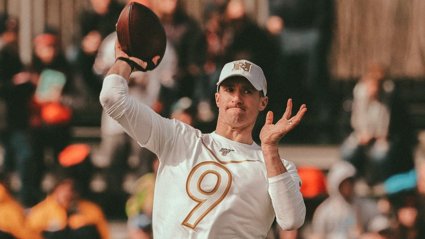 Mandatory Credit: Photo by Chris O'Meara/AP/Shutterstock (10536209as)NFC quarterback Drew Brees, of the New Orleans Saints, during a practice for the NFL Pro Bowl football game, in Kissimmee, FlaPro Bowl Football, Kissimmee, USA - 22 Jan 2020.