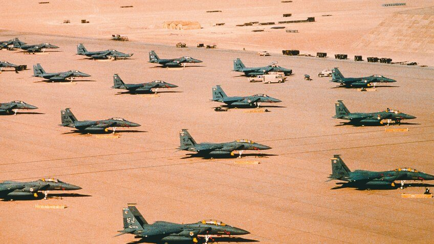 F-15E Eagle fighter aircraft of the 4th Tactical Fighter Wing, Seymour Johnson Air Force Base, N.