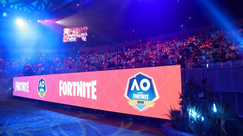 MELBOURNE, AUSTRALIA - JANUARY 27, 2019: Hundreds Fortnite gamers compete during Fortnite Summer Smash at Australian Open 2019 in Melbourne.