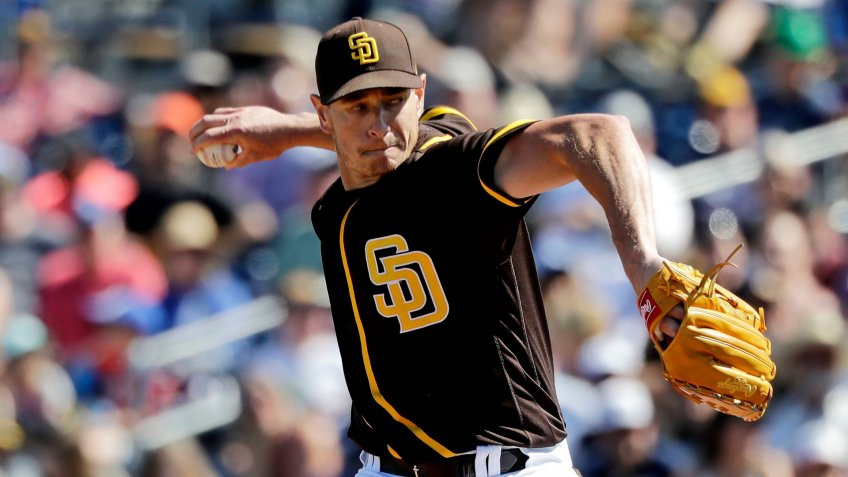 Mandatory Credit: Photo by Elaine Thompson/AP/Shutterstock (10578315j)San Diego Padres starting pitcher Garrett Richards throws against the Los Angeles Dodgers during a spring training baseball game, in Peoria, ArizDodgers Padres Spring Baseball, Peoria, USA - 09 Mar 2020.