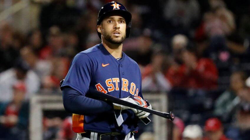 Mandatory Credit: Photo by Jeff Roberson/AP/Shutterstock (10569237k)Houston Astros' George Springer walks back toward the dugout after striking out to end the top of the second inning of a spring training baseball game against the Washington Nationals, in West Palm Beach, FlaAstros Nationals Spring Baseball, West Palm Beach, USA - 27 Feb 2020.