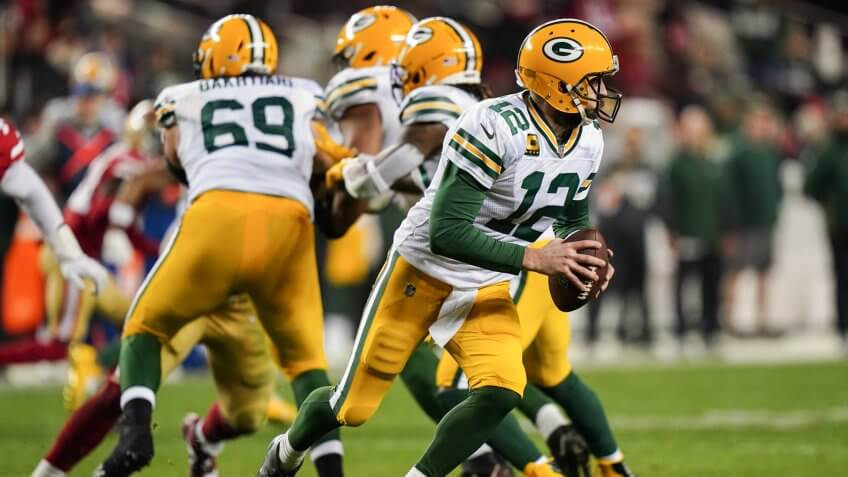 Editorial Use OnlyMandatory Credit: Photo by Dave Shopland/BPI/Shutterstock (10526895ho)Aaron Rodgers Quarterback of the Green Bay Packers (12) runs the ballGreen Bay Packers v San Francisco 49ers, NFL Conference Championship, American Football, Levi's Stadium, USA - 19 Jan 2020.