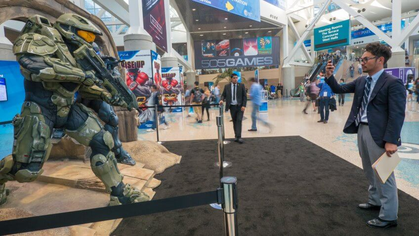 LOS ANGELES - June 16: Halo 5 Guardians game characters sculpture group at E3 2015 expo.
