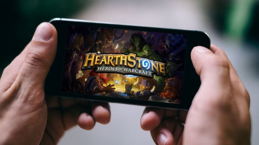COLOGNE, GERMANY - FEBRUARY 27, 2018: Hearthstone App Game played on Apple iPhone.