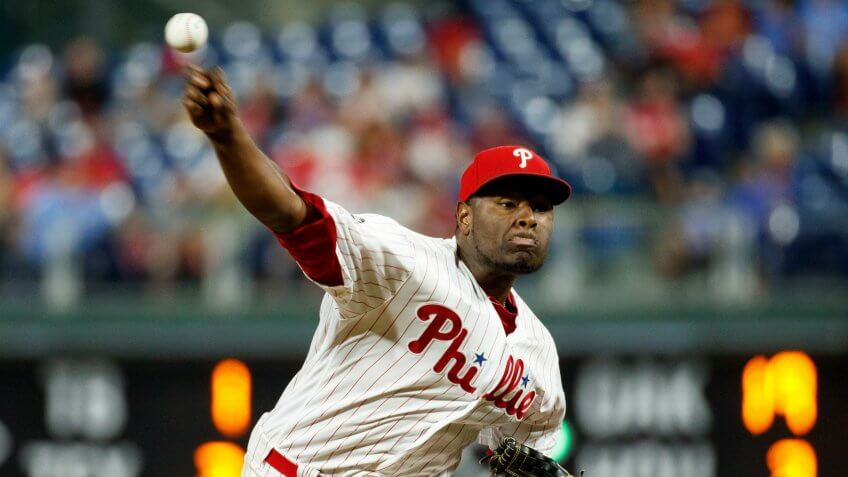 Mandatory Credit: Photo by Matt Slocum/AP/Shutterstock (10406943aa)Philadelphia Phillies' Hector Neris in action during a baseball game against the Atlanta Braves, in Philadelphia.