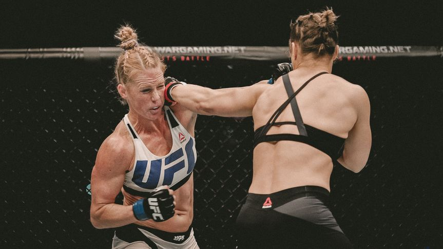 Editorial use onlyMandatory Credit: Photo by Joe Castro/EPA/Shutterstock (7616528c)Holly Holm Fights Defending Champion Ronda Rousey in the Women's Bantamweight Bout During the Ufc 193 Australia Event at the Etihad Stadium in Melbourne 15 November 2015Ufc 193 in Australia - Ronda Rousey Vs Holly Holm - Nov 2015.