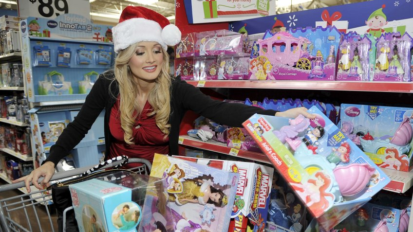 LAS VEGAS, NV - DECEMBER 06:  Television personality Holly Madison shops for toys for her annual 'Holly Jolly Christmas Toy Drive' to benefit Toys For Tots and The Salvation Army on December 6, 2012 in Las Vegas, Nevada.